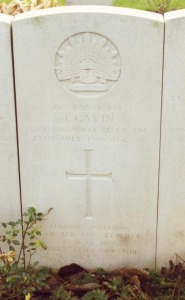L/Cpl James Gavin's gravestone in Rue Petillon cemetery: the family's inscription can be read.