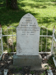 A sad reminder of the hazards of early Queensland immigration, the gravestone of little James Dryden on Magnetic Island.