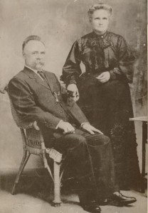 Emily Melvin (nee Partridge) with her husband Stephen Gillespie Melvin, probably c1906-1910.