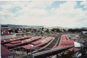 Roma St Railway Station -the old shunting yards extended up to and beyond the right corner of this image. Photo taken P Cass about 2006.