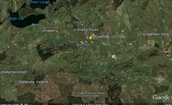 A Google Earth map of Broadford and surrounding areas, including the townland of Ballykelly.