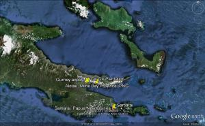 Milne Bay Province is on the south-eastern corner of Papua New Guinea. Image from Google Earth.