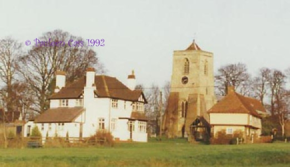 Sandon Church and the old Six Bells public house © Pauleen Cass 1992