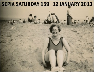 Sepia Saturday beach