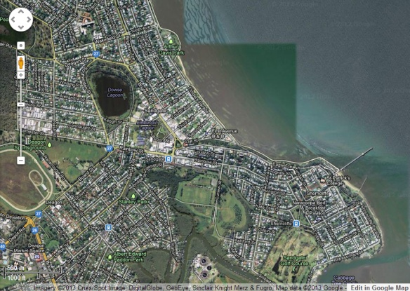 Google map of Shorncliffe and Sandgate.