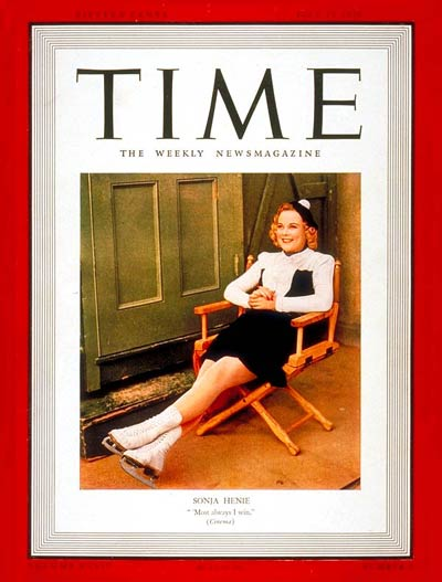 Sonja Henie made the cover of Time Magazine in 1939. Image from Wikimedia Commons.