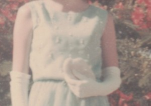 This cropped enlargement is fuzzy but you can see the hours of work Mum put into the beading. This was my Year 12 Formal dress for school, in the school colours.