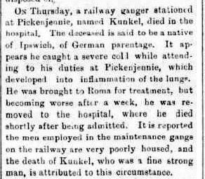 The death of Joseph Francis Kunkel, Western Star and Roma Advertiser, 28 August 1897, page 2.