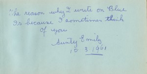 Aunty Emily's entry in my autograph book.
