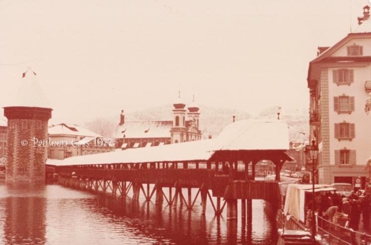 The old Kapellbrücke over Lake Lucerne under snow, Easter 1977. © Pauleen Cass 1977