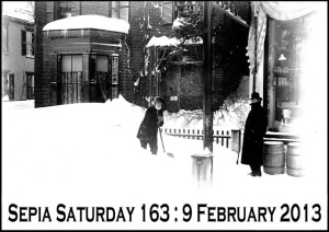 Sepia Saturday 9 Feb snow