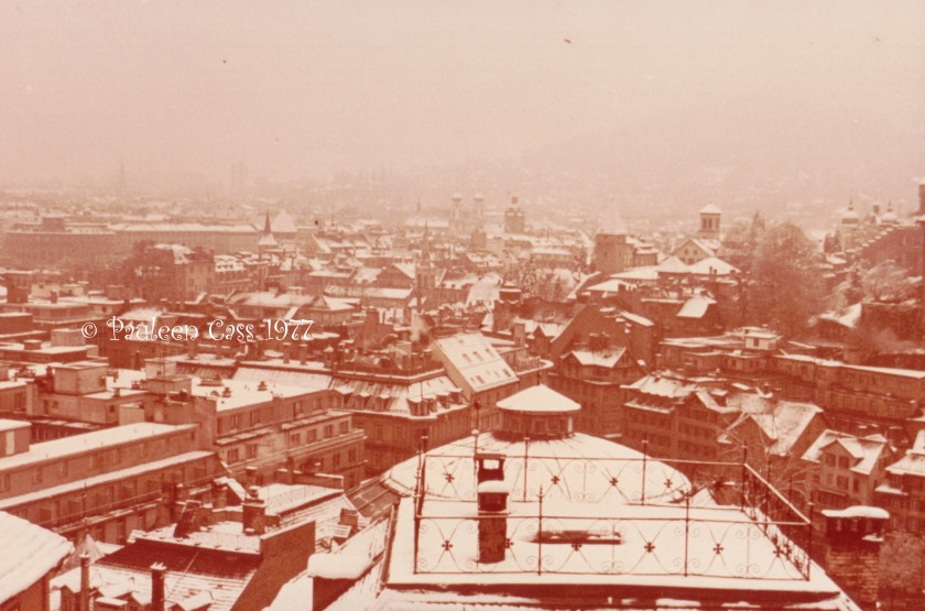 The snow-sprinkled rooftops of Lucerne, Easter 1977. © Pauleen Cass 1977