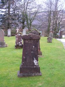 Isabella Morrison McCorkindale's gravestone is right near the door to the Kilmorich church.