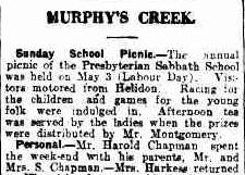 The Brisbane Courier (Qld. : 1864 - 1933), Friday 7 May 1926, page 18. The Chapmans were neighbours of the Kunkel.