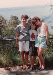 The three sisters in front of the rock formation in the Blue Mountains called the Three Sisters.