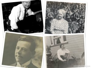 My maternal grandparents (top row) and my paternal grandparents as young people (bottom row)