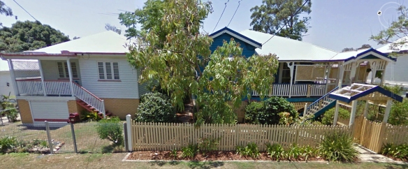 Image from Google Earth, street view: my parents' (left) and grandparents' (right) houses.