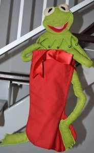 I made this kermit stocking for my youngest daughter but it is really only used for decoration.