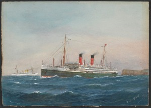 The Aorangi: my SGM sailed on its maiden voyage. Painting by Gregory, C. Dickson . Image from State Library of Victoria http://trove.nla.gov.au/version/182145878