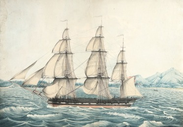 'Florentia', under Captain Wimble, passing through Telleberry Roads, coast of Malabar, on 1 February 1825