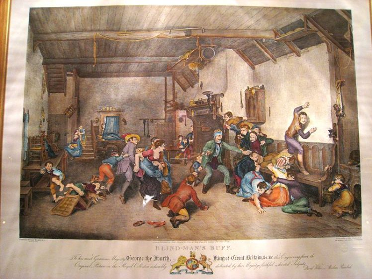 Image from Wikipedia. Blind-Man's Buff [sic], published by Paul Jarrard & Sons (London, England). This print was made within the lifetime of King George IV of England (12 August 1762 – 26 June 1830), hence copyright (if any) has long since expired.