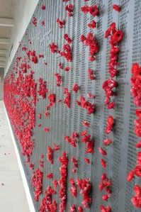 One of the memorial walls at the Australian War Memorial.