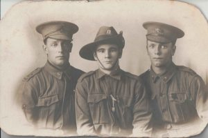 Fred Fisher, Unknown and Les Fisher. The unknown man in the centre is believe to have been machine gunned.