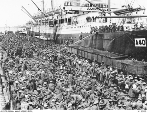 This is an embarkation of troops on the HMAT Ceramic in 1915. AWM image H19500 out of copyright.