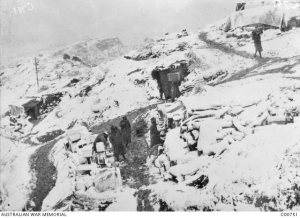 For many of the Aussie Anzacs, the Gallipoli snowfalls would have been their first sighting of snow. I imagine the novelty wore off pretty quickly. AWM image C00751 out of copyright.