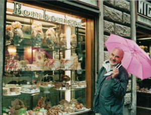 The Italians do Easter treats more glamorously than anyone. Mr Cassmob looking happy despite the rain outside a Florentine Bonbonierie.