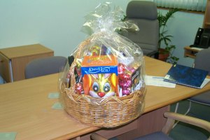 A very rare occasion - the winning of an Easter basket at work.