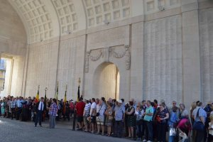 The names on this wall of the Menin Gate are only a fraction of the total listed.
