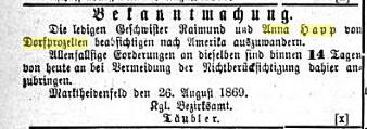 Unmarried siblings Raimund and Anna Happ....Beobachter am Main und Aschaffenburger Anzeiger: 1869,7/12