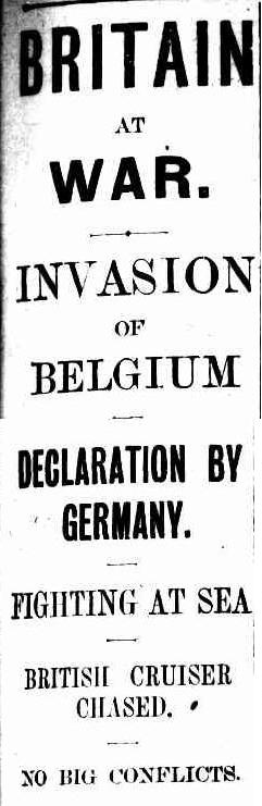 BRITAIN AT WAR. INVASION OF BELGIUM. (1914, August 6). The Sydney Morning Herald (NSW : 1842 - 1954), p. 7. Retrieved August 5, 2014, from http://nla.gov.au/nla.news-article1552795