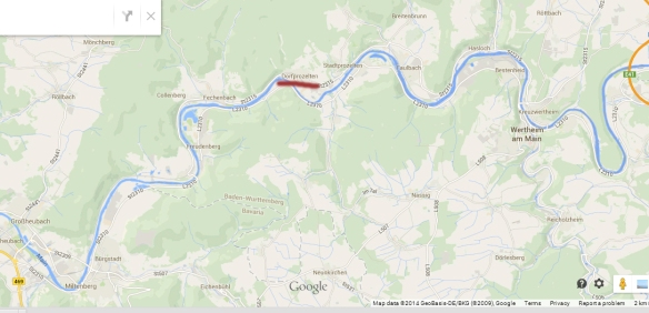 The village of Dorfprozelten is situated on the River Main which formed the boundary between Bavaria and Baden.