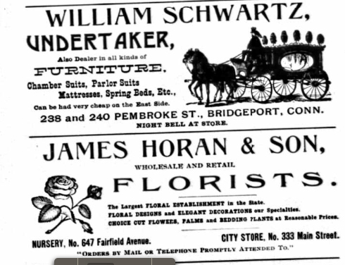I suppose if you're in the florist business it's not surprising to advertise amidst all the undertakers' advertisements.