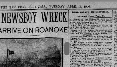 San Francisco Call, 3 April 1906, page 11. <http://chroniclingamerica.loc.gov/lccn/sn85066387/1906-04-03/ed-1/seq-11/