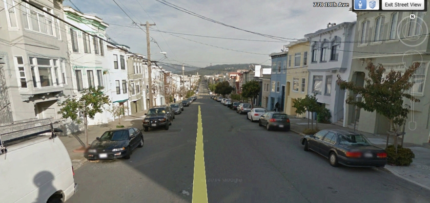 This is 18th Avenue, San Francisco, very near numbers 770 and 778. Prepared with Google Earth Street View.