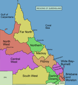 The Darling Downs is the lime green area on the bottom right.