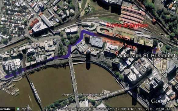 This Google Earth map shows the last stage of this civil liberties march and the route diversion, finishing outside Roma St Railway Station.