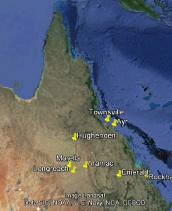 This is a map of Queensland, showing the  places mentioned in the McSherry story. See below for some sense of distance.