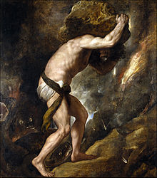 Sisyphus and his rock - painting by Titian. Image from Wikipedia http://en.wikipedia.org/wiki/Sisyphus