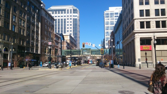 I was surprised how quiet the streets were in SLC. You can see the Trax arriving in the centre of the road.