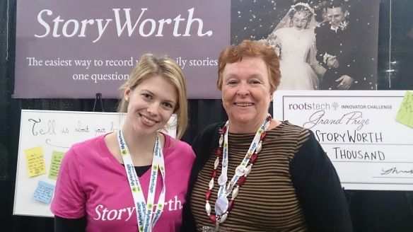 I enjoyed meeting up with Hope from StoryWorth as we'd been in touch before the conference. StoryWorth won the Innovation Challenge at RootsTech, and that's a big cheque you see behind us.