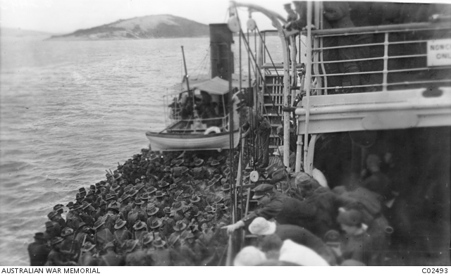 Members of the 9th Battalion on a tender going ashore from the HMT Omrah (A5), for a route march at Albany. AWM Image CO2493