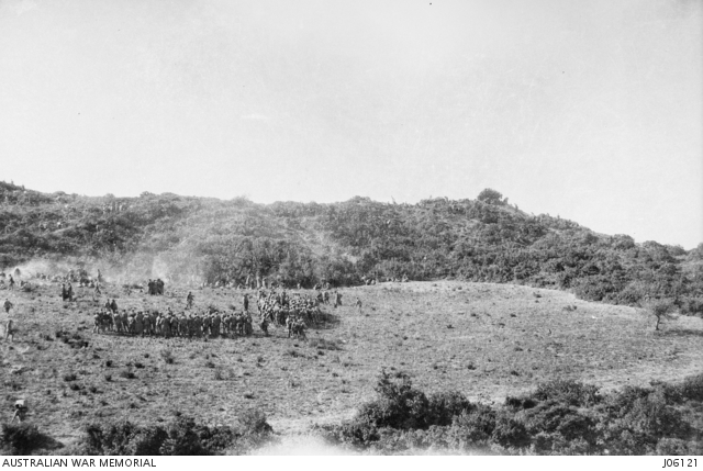 The first roll call of the 9th Battalion at Gallipoli a few days after the landing. The lack of numbers makes it more understandable how Vic Sanders' fate could have been unclear. AWM Image JO6121.