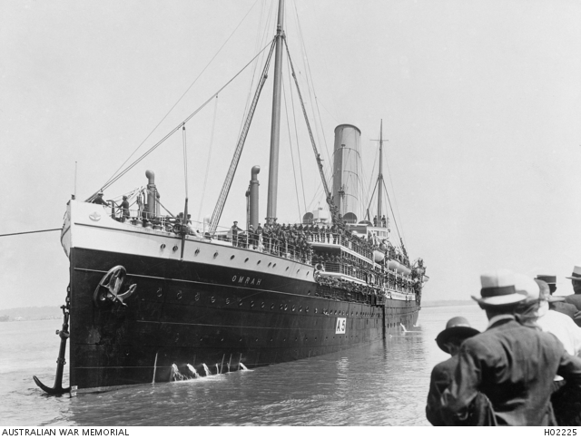 The Transport Ship, Omrah, leaves Pinkenba whart, Brisbane with the 9th Battalion.