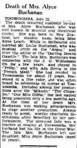 Death of Mrs. Alyce Buchanan. (1930, July 23). The Brisbane Courier (Qld. : 1864 - 1933), p. 17. http://nla.gov.au/nla.news-article21544807