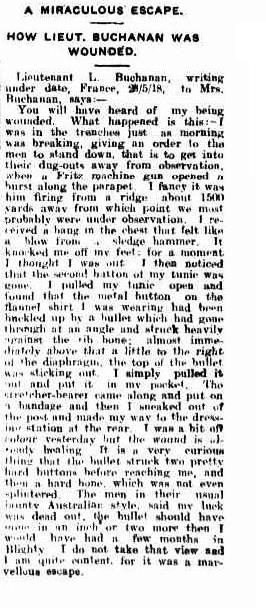 A MIRACULOUS' ESCAPE. (1918, August 6). Darling Downs Gazette (Qld. : http://nla.gov.au/nla.news-article183226447