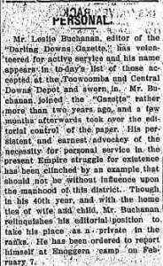 [?] PERSONAL. (1916, January 18). Darling Downs Gazette (Qld. : 1881 - 1922), p. 4. http://nla.gov.au/nla.news-article188051959